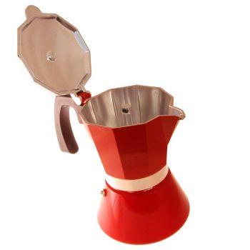 Espressokocher mit Gravur, Aluminium, rot