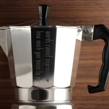 Espressokocher mit Gravur, Aluminium