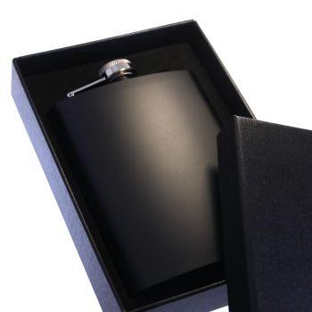 Flachmann schwarz, mit Gravur