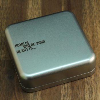 Geschenkbox Weißblech Gravur