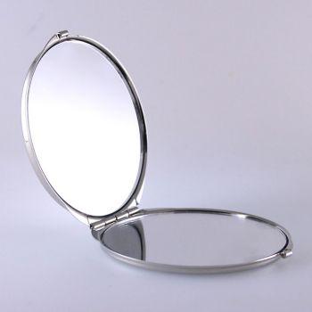 Taschenspiegel vernickelt und mit Gravur