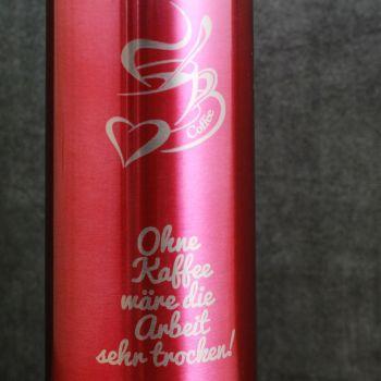 Thermoskanne mit Gravur pink