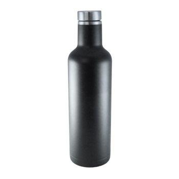 Isolier-Trinkflasche mit Gravur, schwarz, 0,75 L