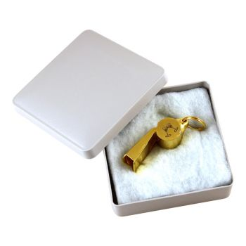 Trillerpfeife mit Gravur, vergoldet