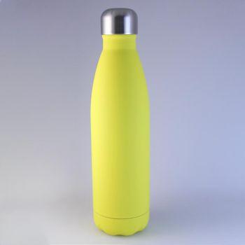 Isolierte Trinkflasche gelb matt, 0,5 L mit Gravur