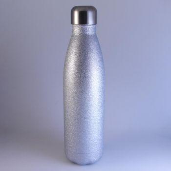 Isolierte Trinkflasche silber glitzernd, 0,5 L mit Gravur