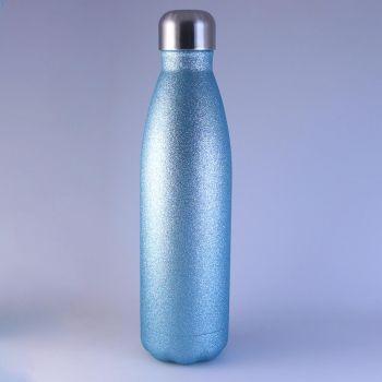 Isolierte Trinkflasche glitzernd in blau, 0,5 L mit Gravur