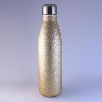 Isolierte Trinkflasche gold glitzernd, 0,5 L mit Gravur