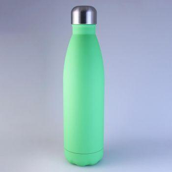 Isolierte Trinkflasche grün matt, 0,5 L mit Gravur