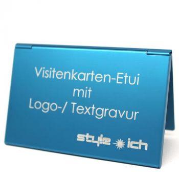 Visitenkarten-Etui mit Gravur, Aluminium, blau