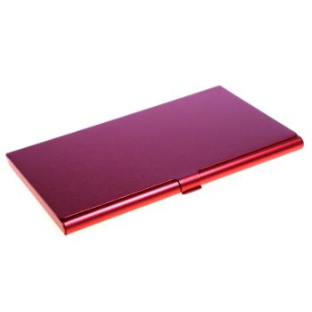 Visitenkarten-Etui mit Gravur, Aluminium, rot