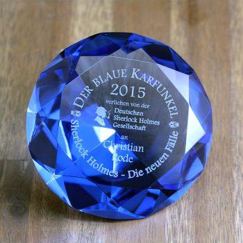 blauer glas diamant gravur