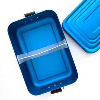 Brotdose blau mit Gravur, Aluminium