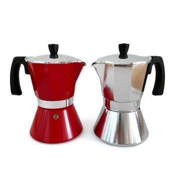 Espressokocher mit Gravur, Aluminium, verschiedene Farben