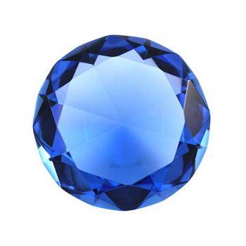 Glasdiamant mit Gravur, 10 cm, blau