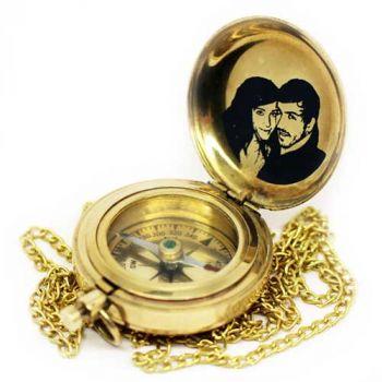 Taschen-Kompass mit Gravur, Messing