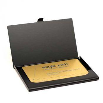 Visitenkarten-Etui mit Gravur, Aluminium, schwarz