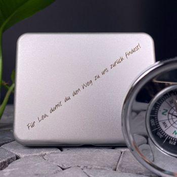 Taschen-Kompass mit Gravur, silberfarben
