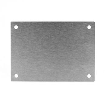 Metallplatte mit Gravur und Löchern, Edelstahl, 210 x 148 mm