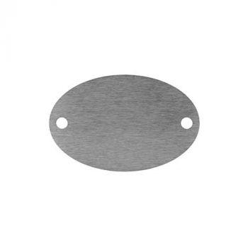 Metallplatte mit Gravur und Löchern, Edelstahl, oval, 85 x 55 mm