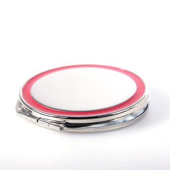 Taschenspiegel (rotem Rand), vernickelt und mit Gravur