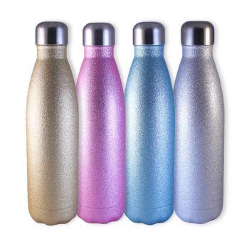 Trinkflasche in hellen glitzernden Farben mit Gravur, 0,5 L