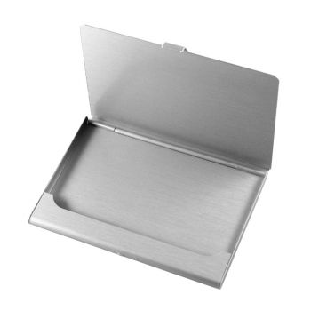 Visitenkartenetui mit Gravur Aluminium in Silberoptik