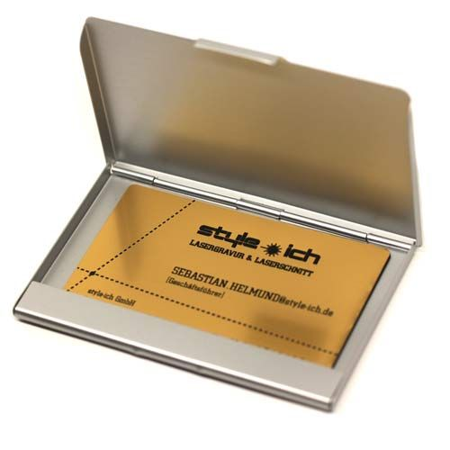 Visitenkarten Etui Mit Gravur Aluminium Silber