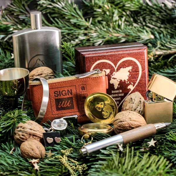 Weihnachtsgeschenke mit Gravur