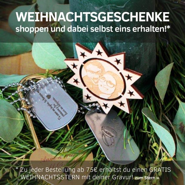 Weihnachtsgeschenke mit Gravur und gratis Gravurgeschenk - Holzstern mit Gravur