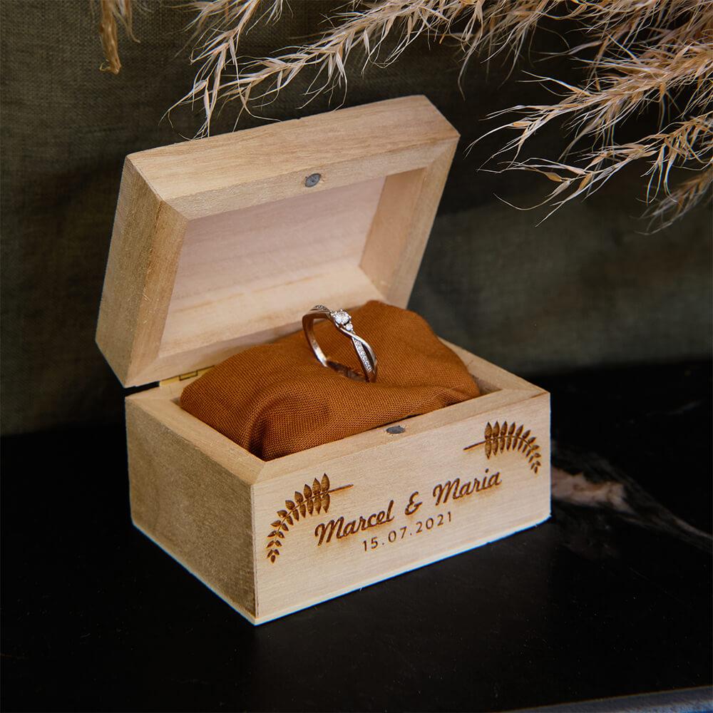 Gravur Hochzeitsgeschenk Ringdose mit Gravur
