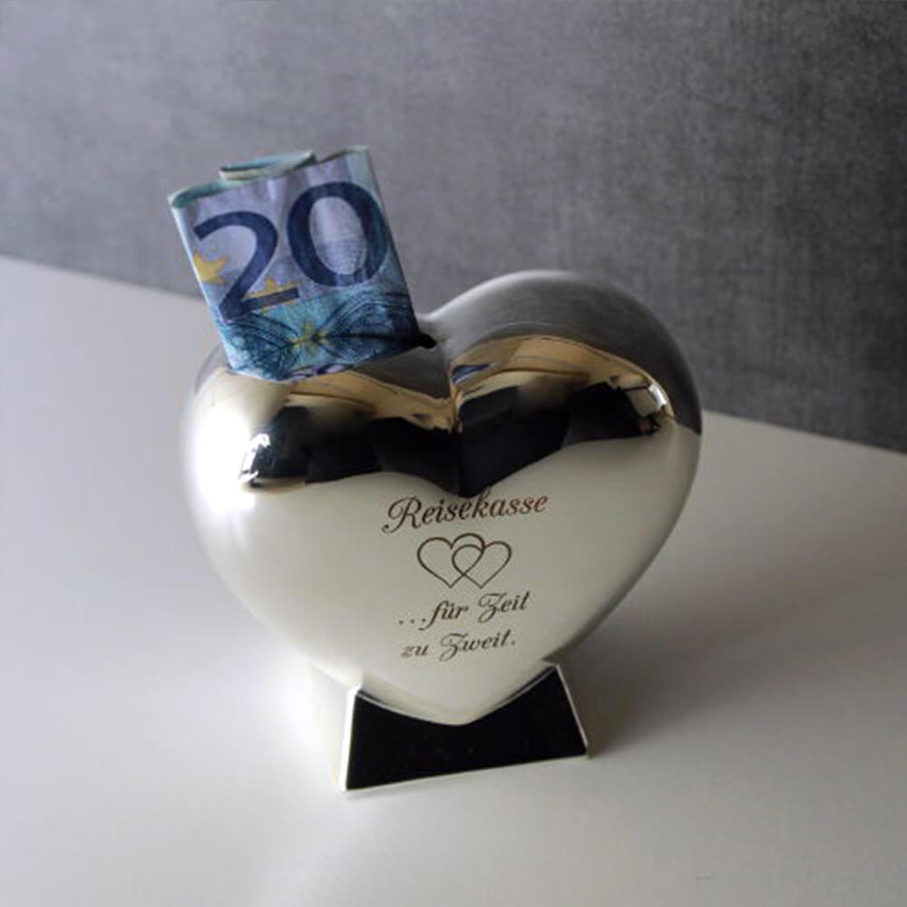 Gravierung Hochzeitsgeschenk Brautjungfern Spardose Herzform