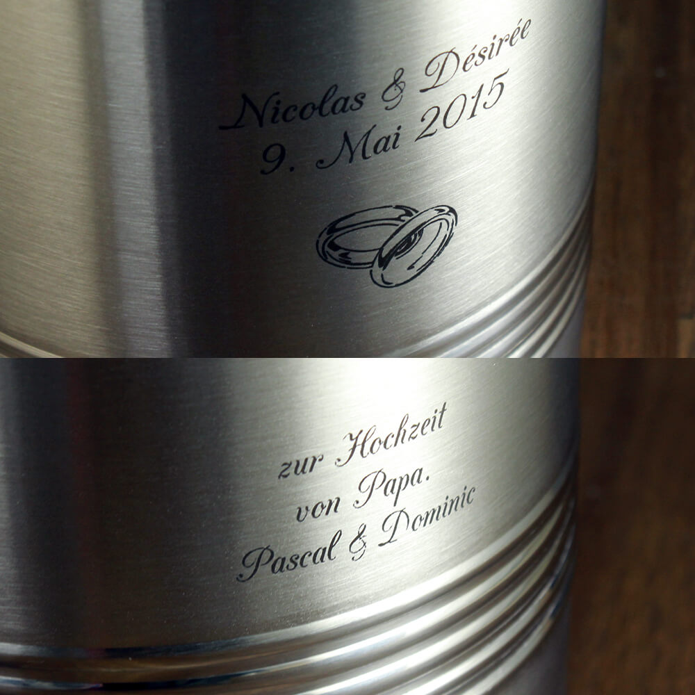 Ideen Hochzeitsgeschenk Weinkühler mit Gravur Edelstahl