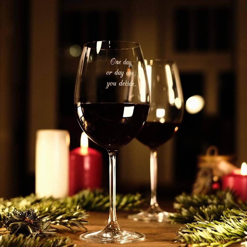 Originelle Weihnachtsgeschenke rotweinglas mit Gravur