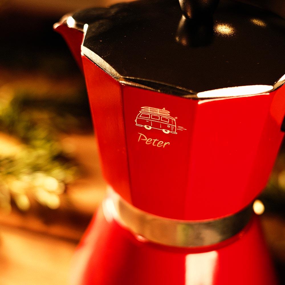 Gravur zu Weihnachten Bialetti Kaffeekocher