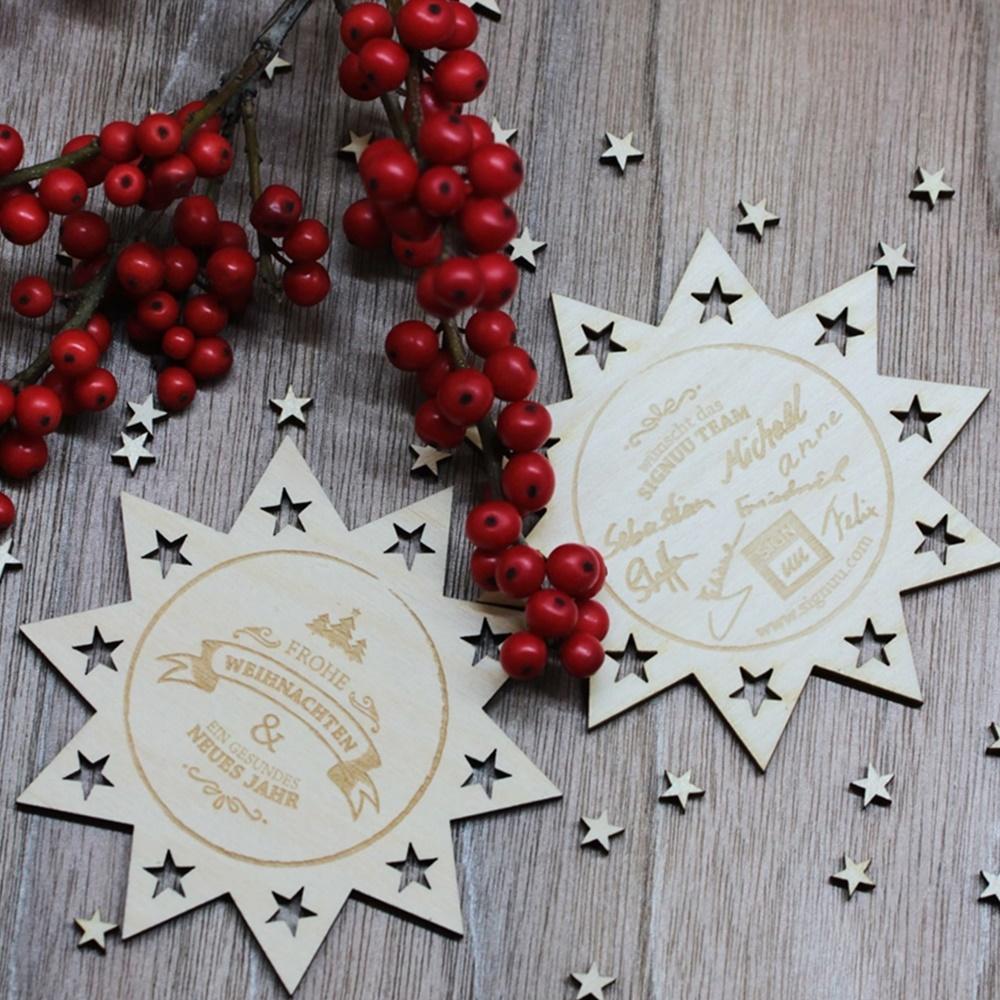 Weihnachtsgeschenke mit Gravur sterne holz