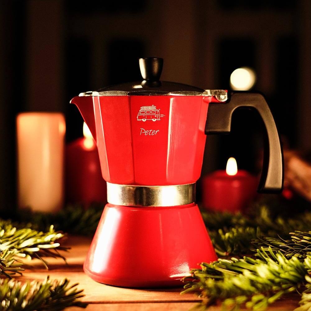 Weihnachtsgeschenke Kaffeekocher Bialetti mit Gravur Name