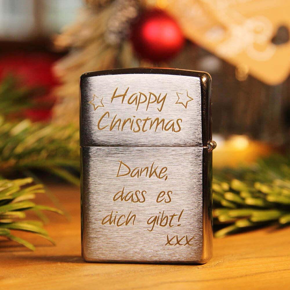 Weihnachtsgeschenke Familie Zippo Feuerzeug mit Gravur Chrom
